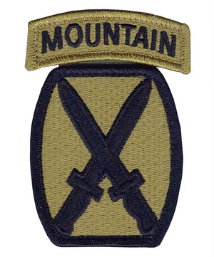 US Army 10th Mountain OCP Patch with Hook Fastener and Mountain Tab  (pair) - Sta-Brite Insignia INC.