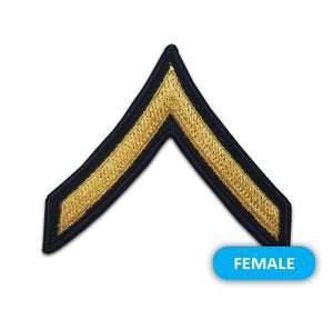 US Army E2 Private Gold on Blue Sew-on - Small/Female - Sta-Brite Insignia INC.