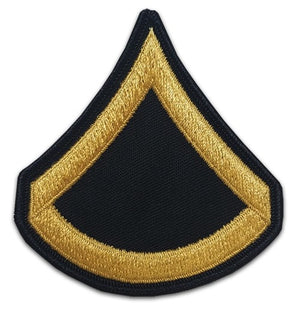 US Army E3 Private First Class Gold on Blue Sew-on - Large/Male - Sta-Brite Insignia INC.