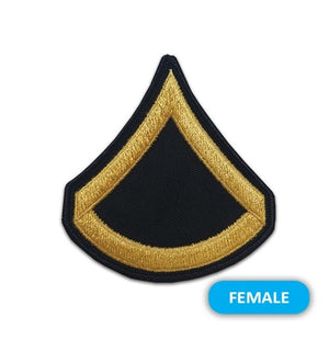 US Army E3 Private First Class Gold on Blue Sew-on - Small/Female - Sta-Brite Insignia INC.