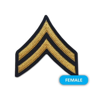 US Army E4 Corporal Gold on Blue Sew-on - Small/Female - Sta-Brite Insignia INC.