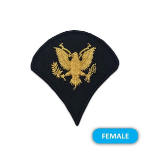 US Army E4 Specialist Gold on Blue Sew-on - Small/Female - Sta-Brite Insignia INC.