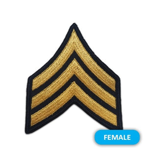 US Army E5 Sergeant Gold on Blue Sew-on - Small/Female - Sta-Brite Insignia INC.