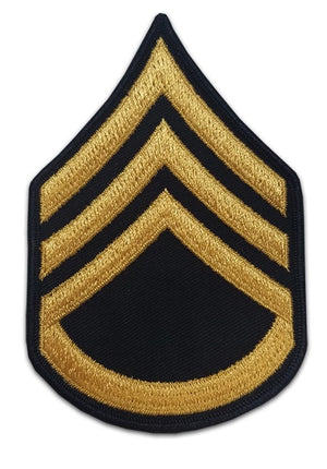US Army E6 Staff Sergeant Gold on Blue Sew-on - Large/Male - Sta-Brite Insignia INC.