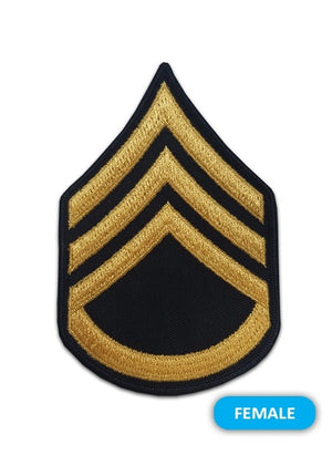 US Army E6 Staff Sergeant Gold on Blue Sew-on - Small/Female - Sta-Brite Insignia INC.