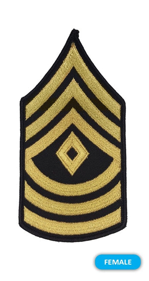 US Army E8 First Sergeant Gold on Blue Sew-on - Small/Female - Sta-Brite Insignia INC.