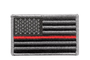 U.S. Flag with Red Line and Hook Fastener
