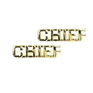 "Police CHIEF Letters Pin 3/8"" Gold Pair - Sta-Brite Insignia INC."