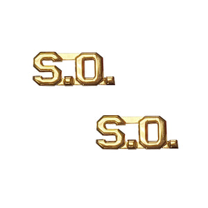 "Police SO Letters Pin 3/8"" Gold Pair - Sta-Brite Insignia INC."
