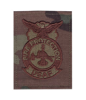 US Air Force Fire Protection OCP Spice Brown Badge with Hook Fastener - Sta-Brite Insignia INC.