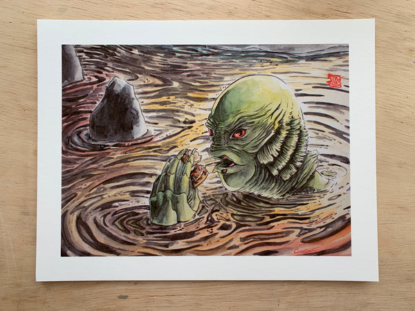 """The Doughnut from the Black Lagoon"" Print"