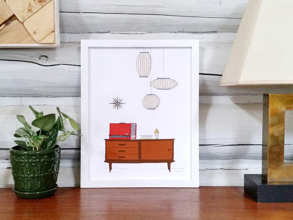 Mid-century Modern Scene with Record Player Print