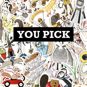 You Pick Stickers: Mix and Match Any Three, Five or Ten Stickers