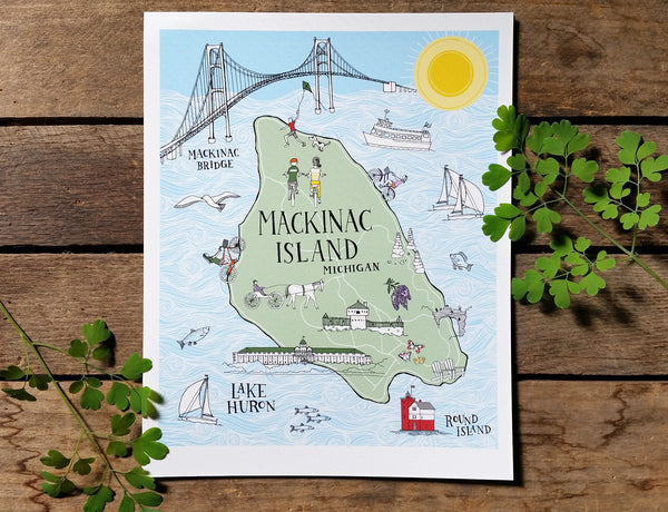 Mackinac Island Illustrated Map Print