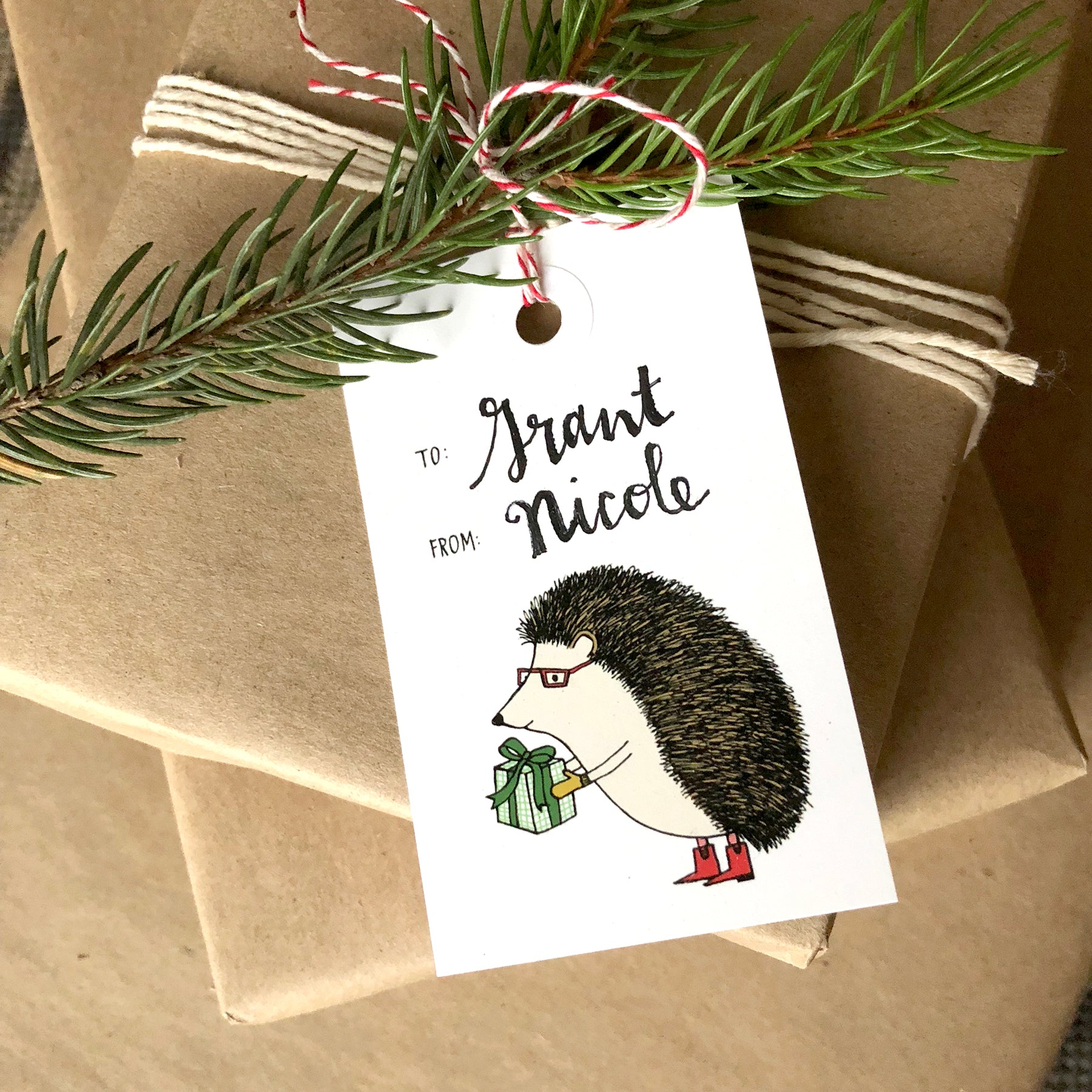 Hedgehog Holiday Gift Tag Set