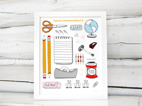 School Supplies Print