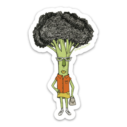 A sticker with a hand-drawn ink illustration of a broccoli woman with one hand on her hip, wearing glasses, an orange shirt, yellow skirt and white sneakers, carrying a purse, on a white background.
