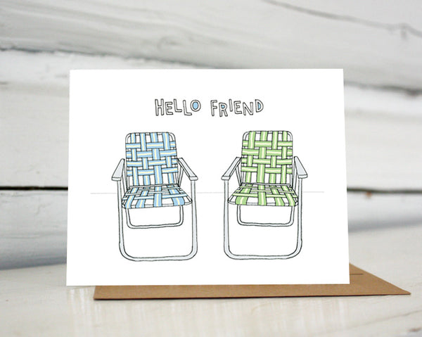 Hello Friend Vintage Lawn Chairs greeting card