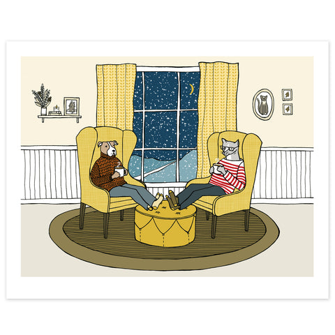 Dog and Cat Share a Quiet Moment on a Cold Snowy Eve Print