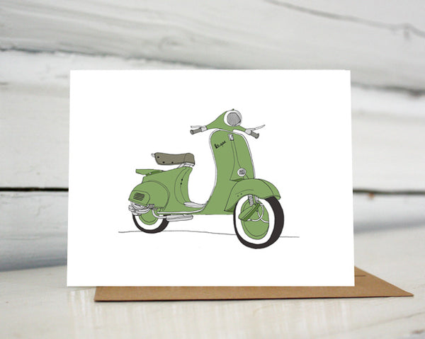 Vespa Scooter Greeting Card