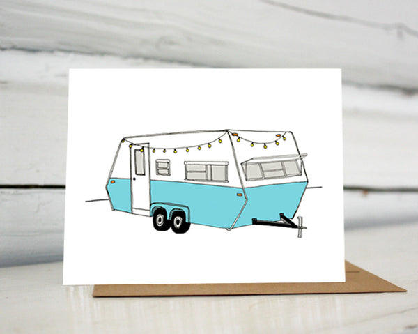 Vintage Turquoise Camper Greeting Card — Boxed Sets or Singles