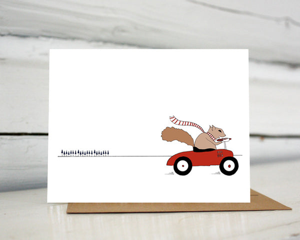 Squirrel Driving Car Greeting Card — Boxed Sets or Singles