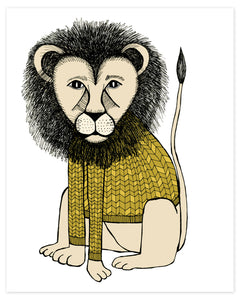 Lion in a Knitted Sweater Print