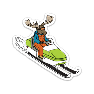 Moose on a Snowmobile Vinyl Sticker