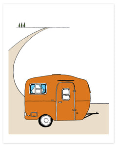 Vintage Orange Scamp Camper Print