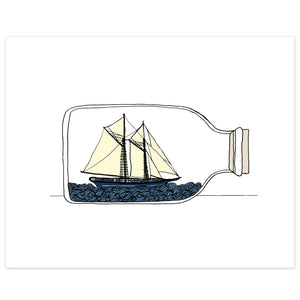 Ship in a Bottle Print
