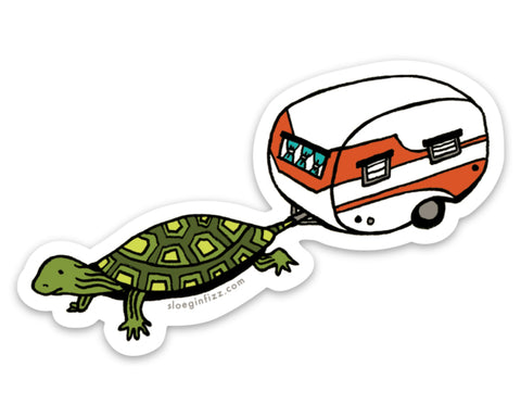 Turtle with Camper in Tow Vinyl Sticker