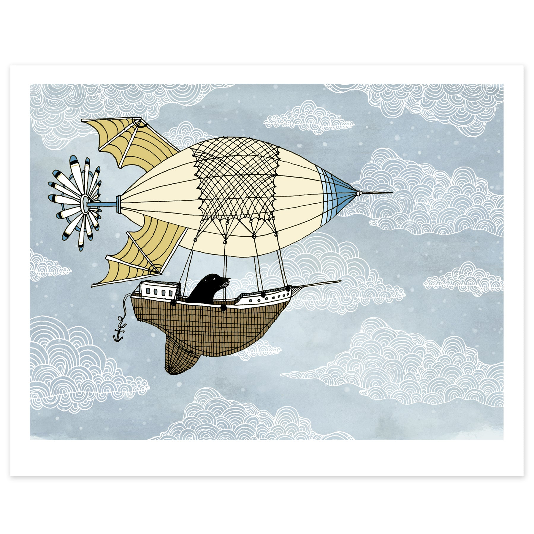 Air Ship with Sea Lion Print