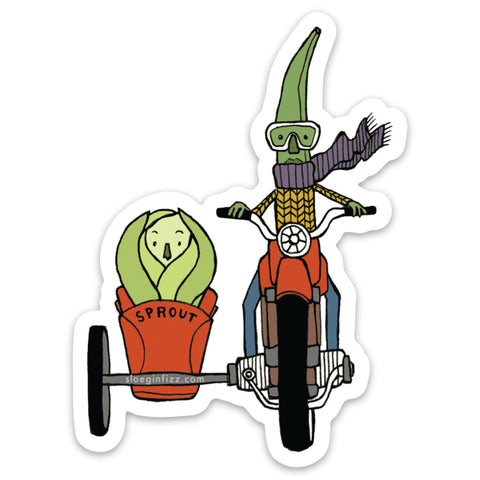A sticker with an illustration of a green bean wearing goggles, a purple scarf and yellow sweater riding a red motorcycle with a sidecar carrying a Brussel sprout.