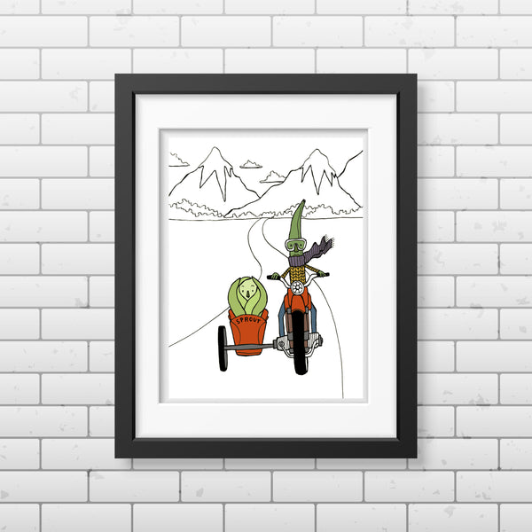 Bean and Sprout on the Open Road Print