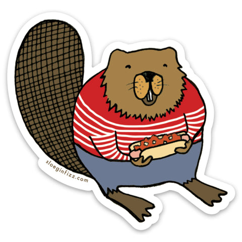 A sticker with a hand-drawn illustration of a fat beaver in a striped red and white sweater holding a hot dog with chili and onions.