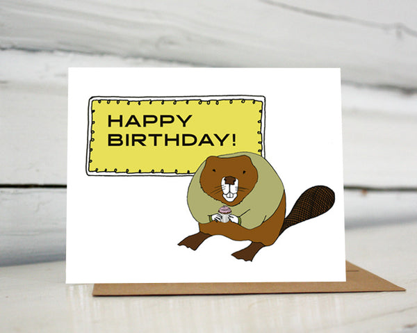 Beaver with a Cupcake Birthday Greeting Card