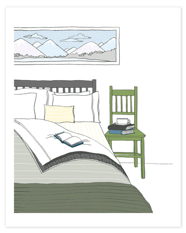 Cozy Bedroom in Winter Print