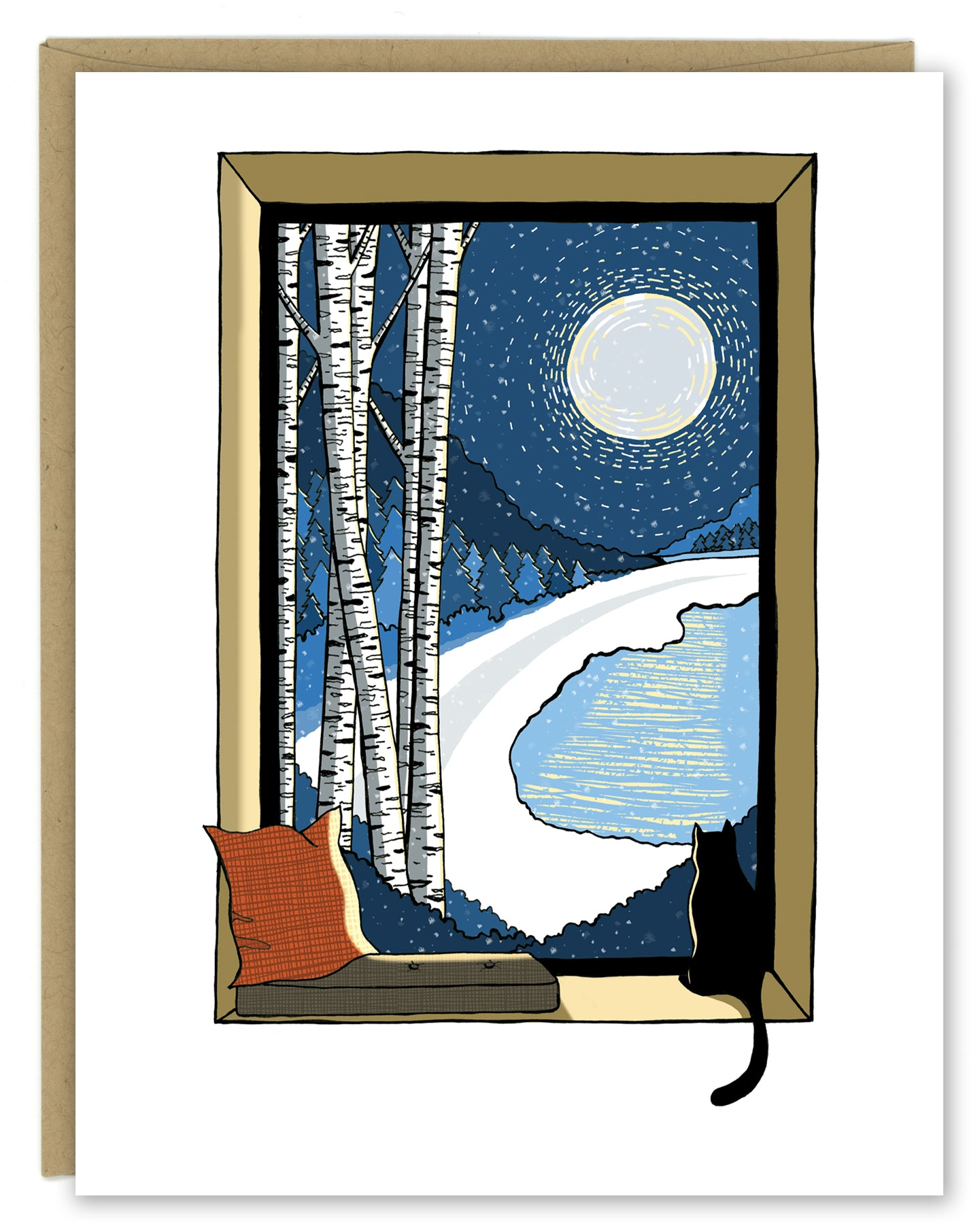 Snowy Night with Birch Trees and Cat Holiday Card