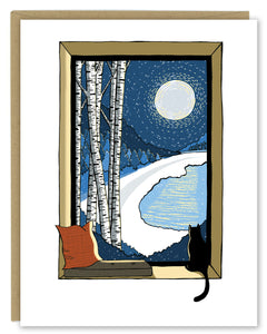 Snowy Night with Birch Trees and Cat Holiday Card — Boxed Sets or Singles