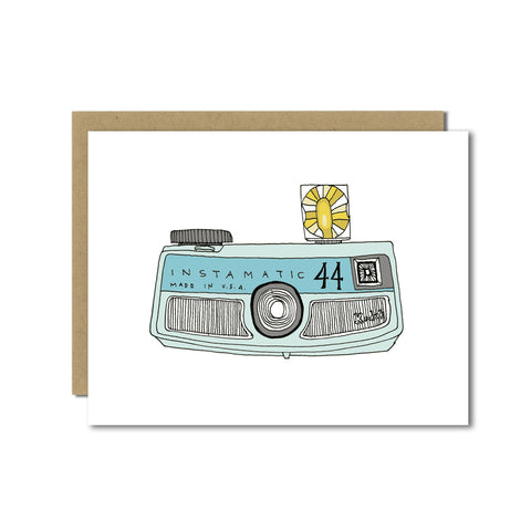 Blue Instamatic Camera Greeting Card