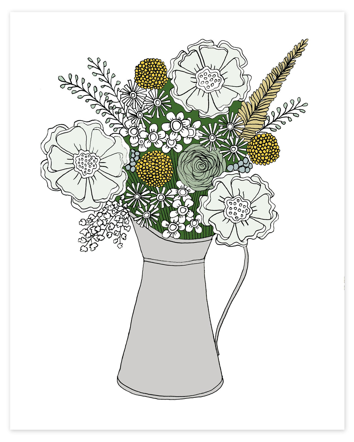 A print of a hand-drawn illustration of a bouquet of flowers in greys, greens and golds in a silver metal pitcher on a white background.