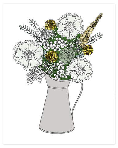 Silvery Bouquet of Flowers Print