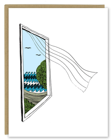A greeting card showing a hand-drawn illustration of a window looking out on ocean waves, a beach and seagulls, a sheer curtain blows in from the window. Shown with a Kraft paper envelope on  a white background.