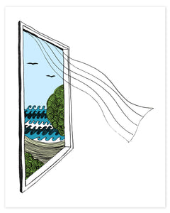 A print of a hand-drawn illustration of a window looking out on ocean waves, a beach and seagulls, a sheer curtain blows in from the window. Shown on a white background.