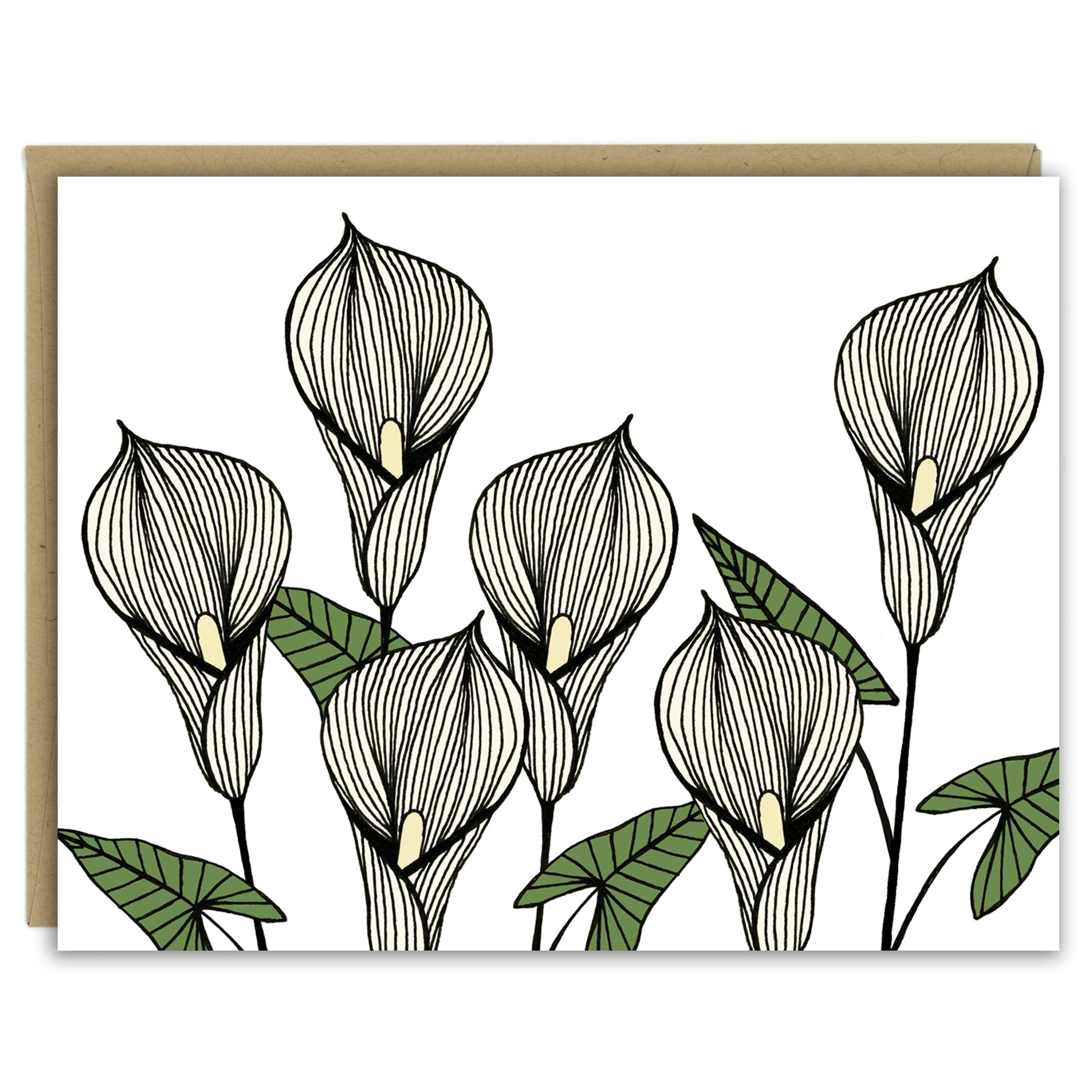 A greeting card with a hand-drawn ink illustration of six pale yellow calla lilies. Shown with a Kraft paper envelope on a white background.