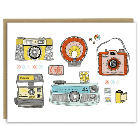 Colorful Cameras Greeting Card