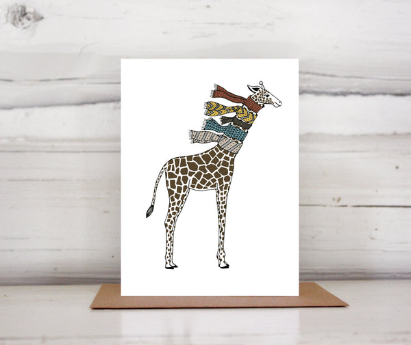 Giraffe with Scarves Greeting Card — Boxed Sets or Singles