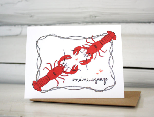 Lobster Love Maine Squeeze Greeting Card