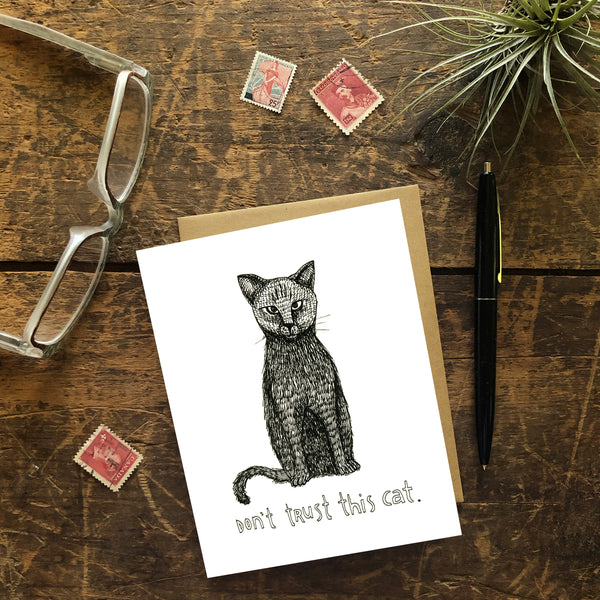 Don't Trust This Cat Greeting Card