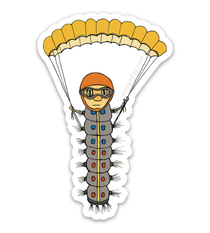 A sticker with a hand-drawn illustration of a caterpillar wearing a helmet and goggles, flying in with a parachute. Shown on a white background.